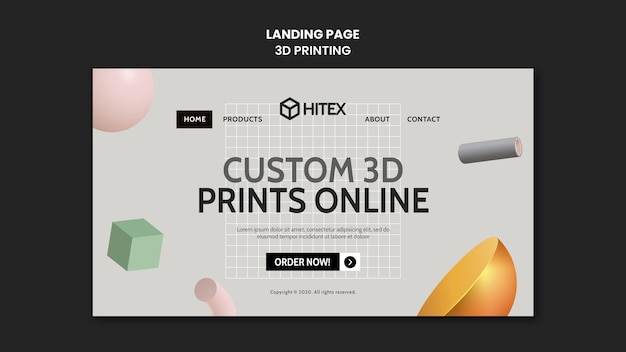 3dプリントのランディングページ