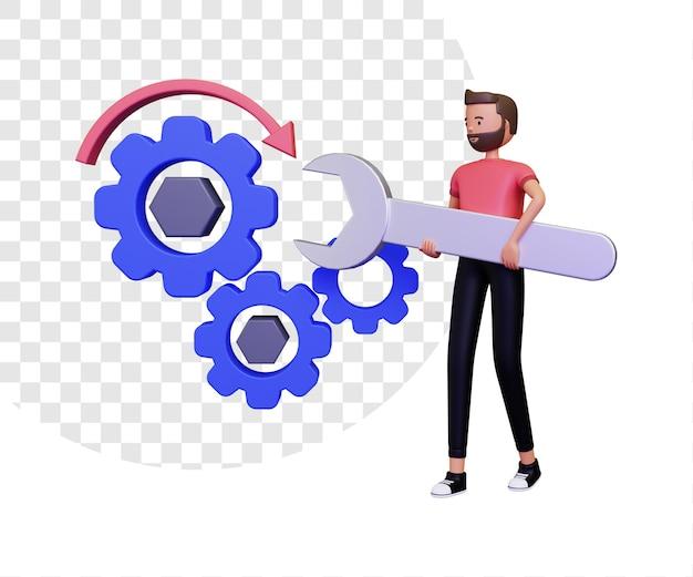 Иллюстрация концепции обработки 3d