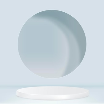 블루 톤의 디스플레이 연단이 있는 3d 제품 배경 psd