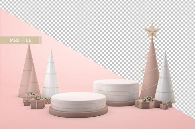 3d製品の表彰台とクリスマスの装飾の概念を表示します