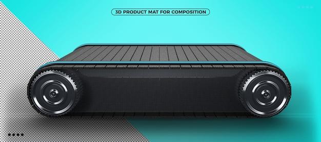 구성을 위한 측면 각도가 있는 파란색과 검정색의 3d 제품 매트
