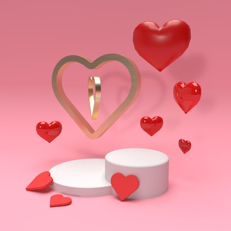 3d product stage scene with hearts and gold ring for advertisement