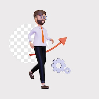 3d progress illustration with a business man character running and an arrow pointing up