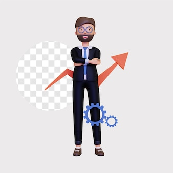 3d progress illustration with a business mans character and an up arrow direction