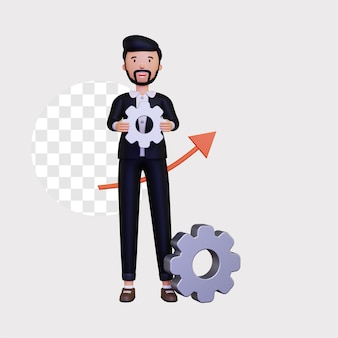 3d progress illustration with a male businessman character holding gear