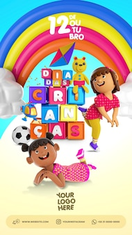 3d psd illustration of children playing for childrens day composition social media