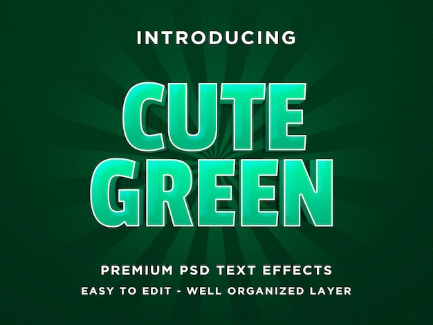 かわいい緑-3dテキストスタイルフォント効果psdテンプレート