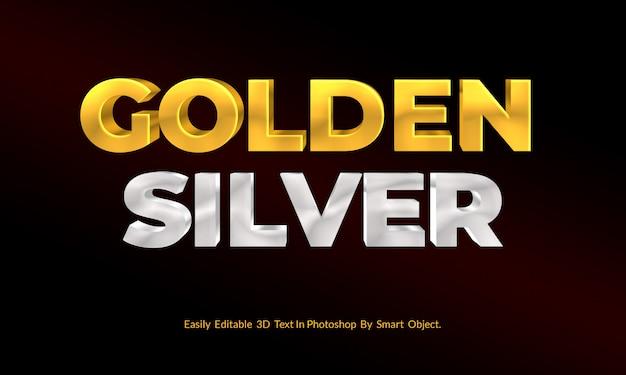 Золото и серебро 3d текст в стиле макета премиум psd