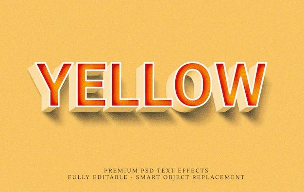 Желтый 3d текстовый стиль эффекта psd