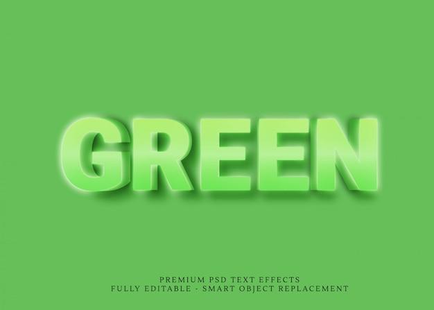 Зеленый 3d текстовый стиль эффекта psd