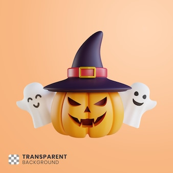 3d pumpkin and white ghost illustration