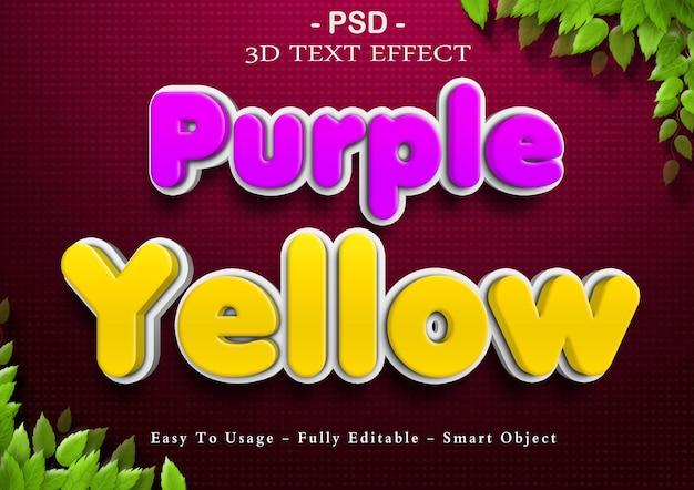 3d фиолетовый и желтый текстовый эффект
