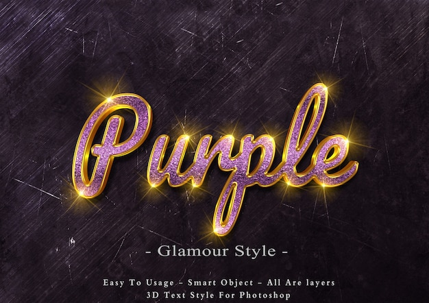 3d purple glamour text style effect