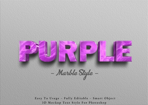 3d purple marble text effect on wall