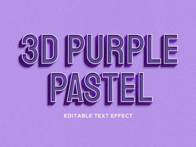 3d purple pastel text effect premium psd