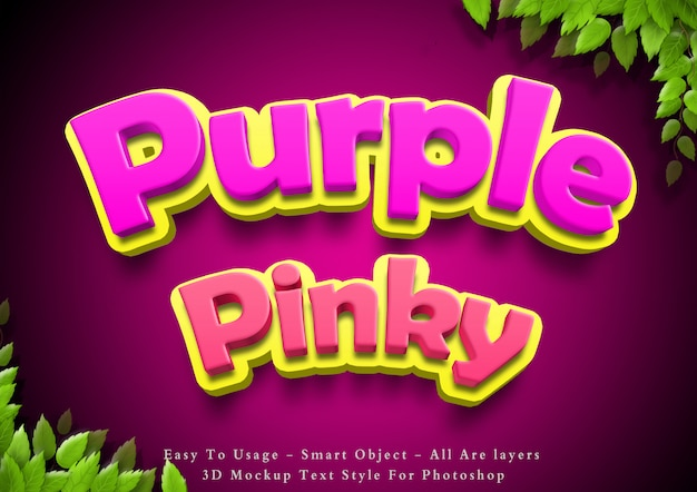 3d purple and pinky text style effect