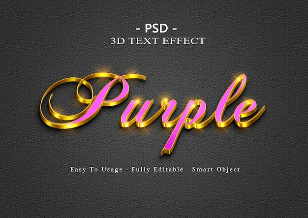 3d紫のテキストスタイルの効果