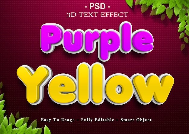 3d purple and yellow text effect
