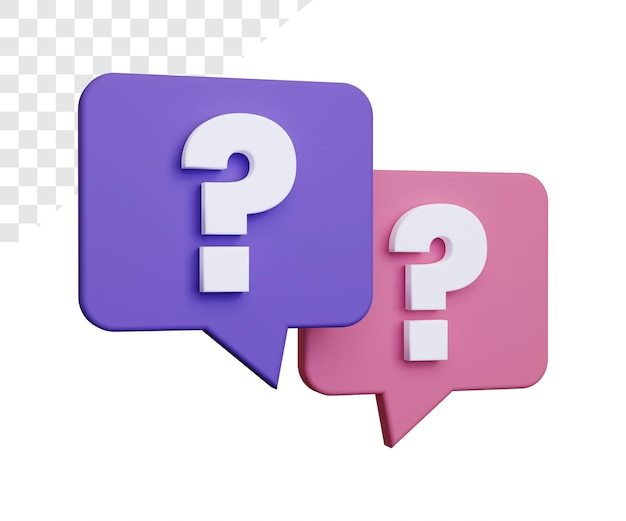 3d question mark or faq rendering isolated