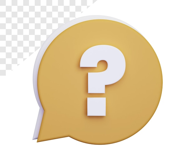 3d question mark rendering isolated