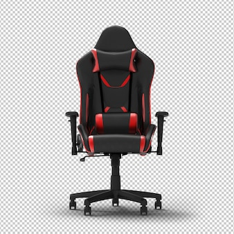 3d racing gaming chair isolated. transparent wall. front view.