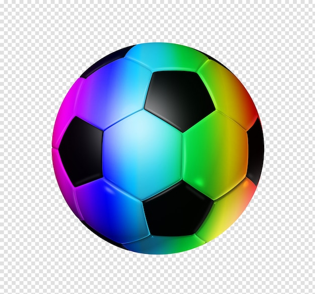 3d rainbow soccer ball isolated