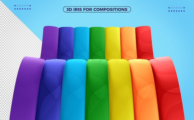 3d радуга с разноцветными волнами для макияжа на детский день