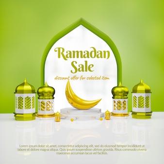 3d ramadan sale social media banner with podium