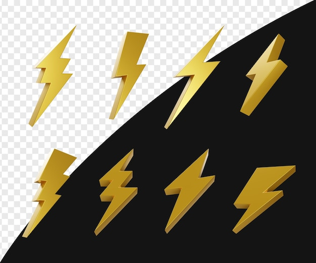 3d reaistic gold lightning or flash or bolt