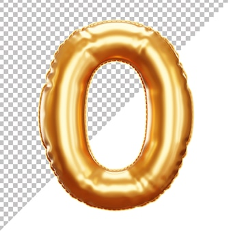 3d realistic 0 number gold helium foil balloon isolated