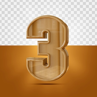 3d realistic 3 number wooden texture isolated