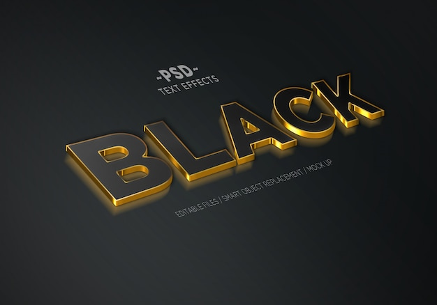 3d realistic black gold 3 editable text effects