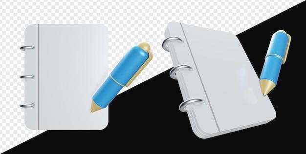 3d реалистичный чистый лист бумаги с ручкой изолирован