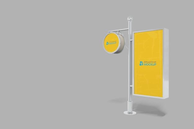 3d realistic circle outdoor sign logo mockup and billboard mockup