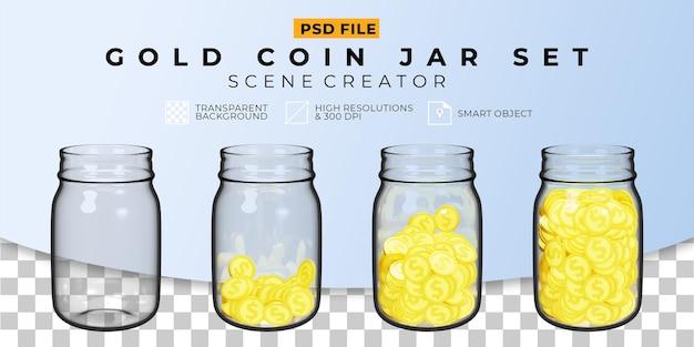 3d реалистичная монета в банке прозрачный набор