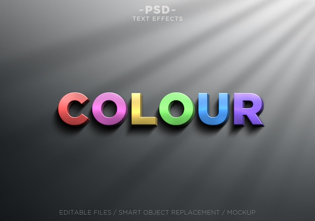 3d realistic colour effects editable text