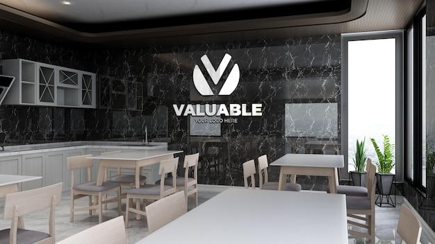 점심을 위해 사무실 식료품 저장실에서 3d 현실적인 회사 로고 모형
