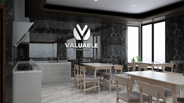 3d realistic company logo mockup in office pantry area for lunch