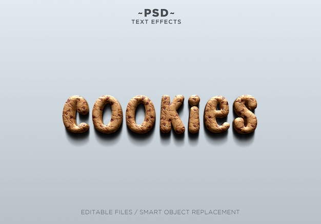 3d realistic cookies effect editable text