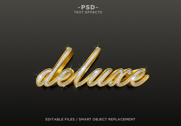 Редактируемый текст 3d realistic deluxe diamond gold effects