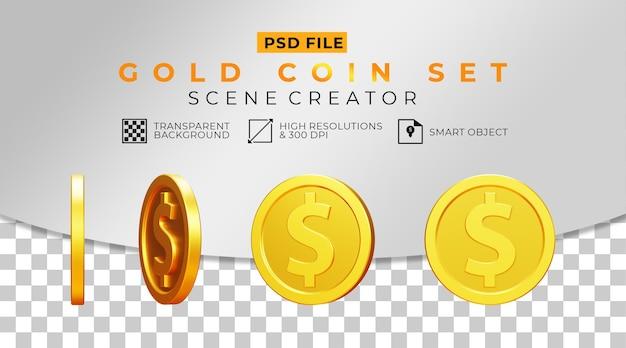 Набор 3d реалистичных долларовых монет