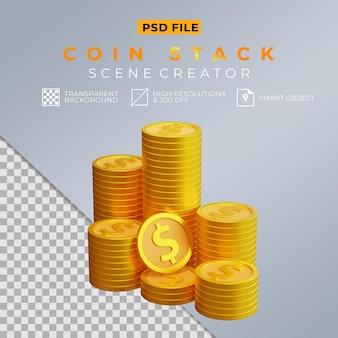 3d реалистичная стопка долларовых монет