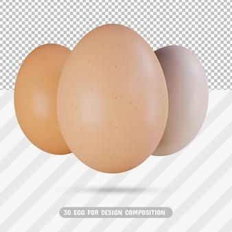 Пакет 3d реалистичные яйца в 3d-рендеринге изолированные