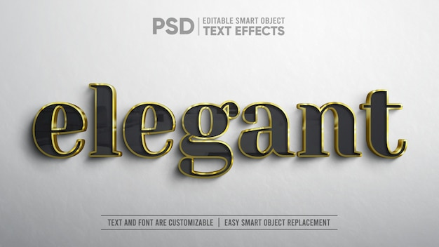 3d realistic elegant black gold text editable smart object mockup