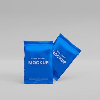 3d realistic foil packet mockup