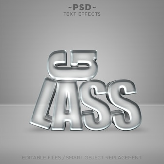 3d realistic glass effects editable text