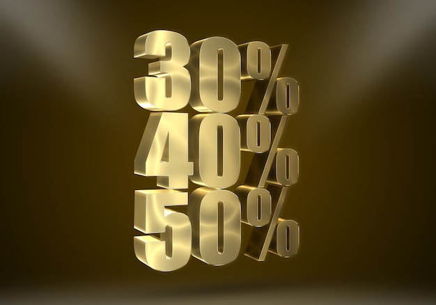 3d realistic golden discount effects editable text