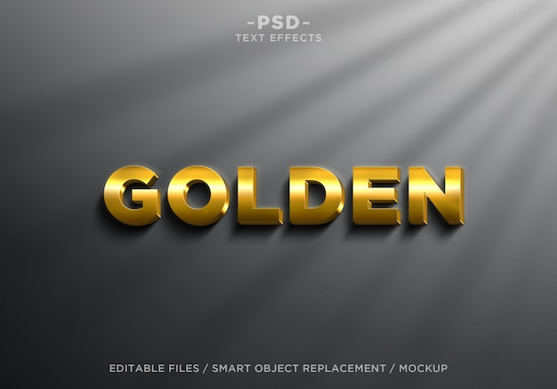 3d realistic golden effects editable text