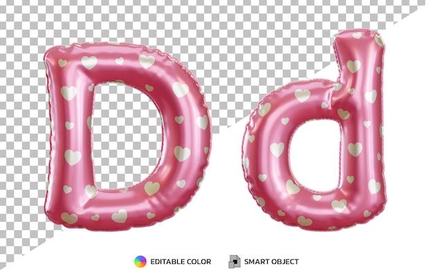 大文字と小文字の3dリアルな文字dピンクのヘリウム箔バルーンアルファベット