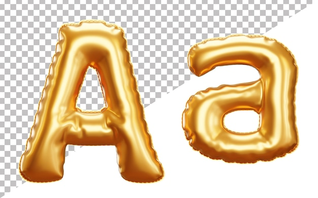 3d realistic letter a gold helium foil balloon alphabet with upper case and lower case